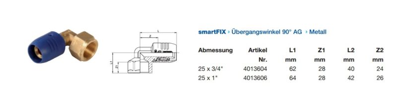 Wavin smartFIX Steckfitting Übergangswinkel 90° Innengewinde Metall 25mm-2912