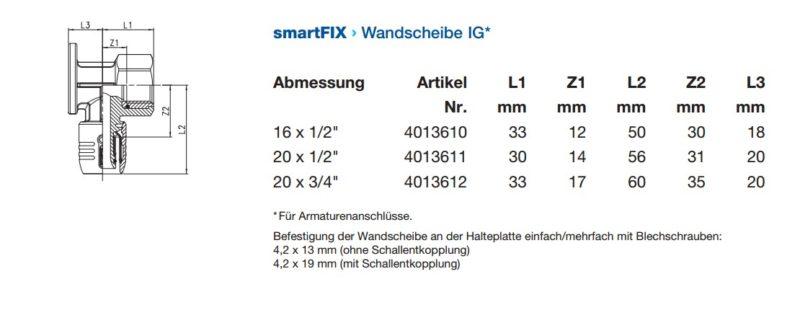 Wavin smartFIX Steckfitting Wandscheibe 90° mit Innengewinde für Armaturenanschlüsse-2907