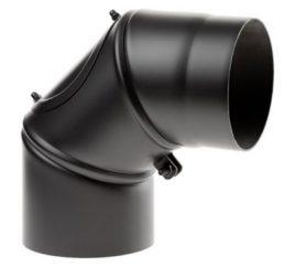 Rauchrohrbogen schwarz 150 und 180mm, drehbar, mit Tür-0