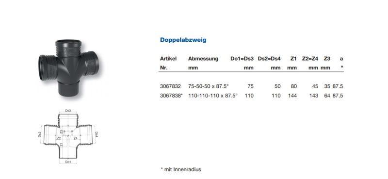 Wavin SiTech+ Schallgedämmtes Abwassersystem, Doppelabzweig DN 70 und DN 100-2696