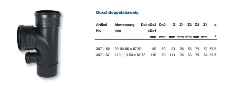 Wavin SiTech+ Schallgedämmtes Abwassersystem, Duschdoppelabzweig DN 90 und DN 100-2690