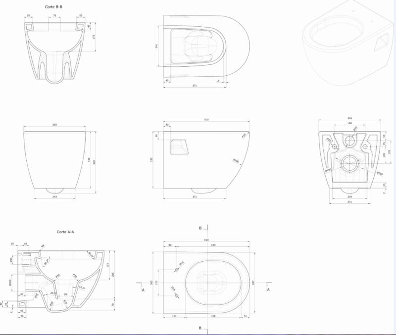 Design Wand WC- Set inkl.WC-Sitz mit Absenkautomatik-1781
