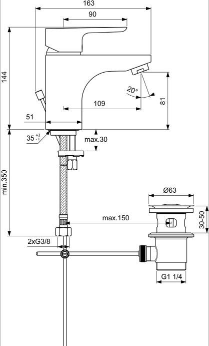 Ideal Standard CeraPlan III Waschtischarmatur 145-1808