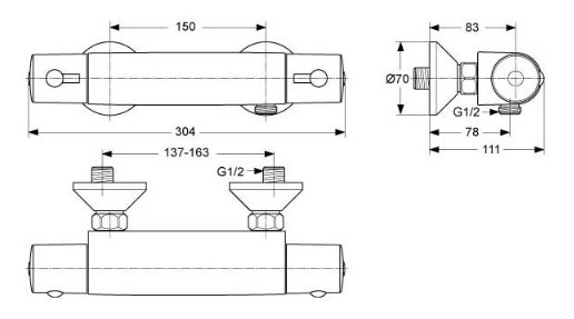 Ideal Standard Brausethermostat CeraTherm 50-1821