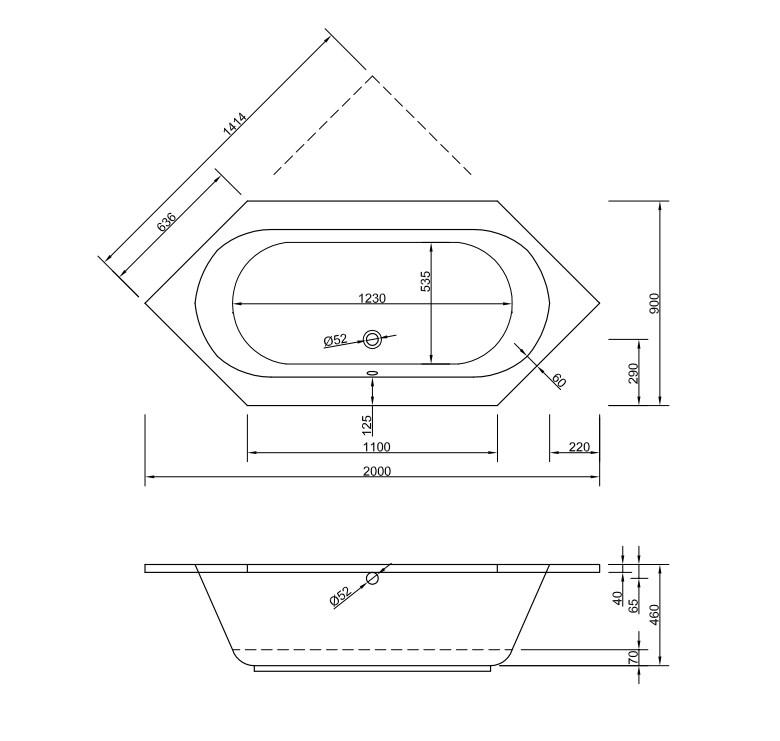Chr. Schröder 6-Eck-Badewanne Serie Andros-2186