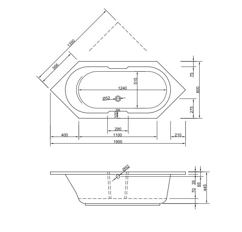 Chr. Schröder 6-Eck-Badewanne Serie Antilla-2180