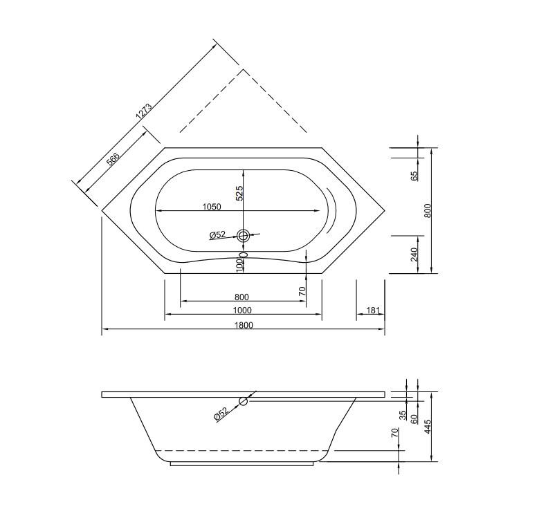 Chr. Schröder 6-Eck-Badewanne Serie Carina-2173