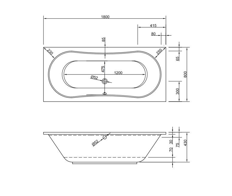 Chr. Schröder Rechteck-Badewanne aus Acryl Serie Lizz-2032