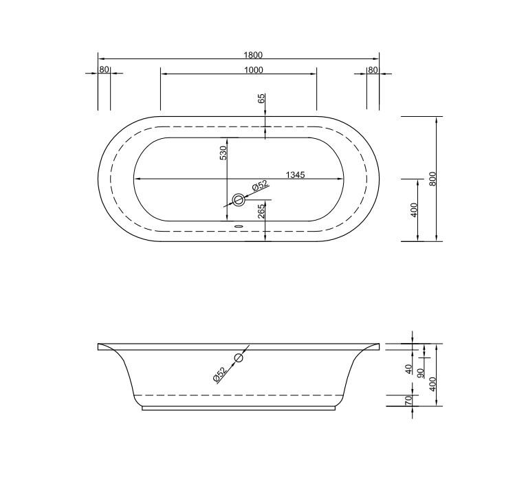 Chr. Schröder Oval-Badewanne Serie Metauro 180 x 80cm Farbe weiß-2123