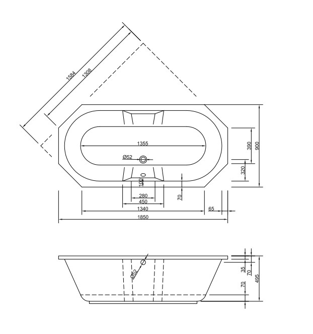 Chr. Schröder 8-Eck-Badewanne Serie Nora-2164