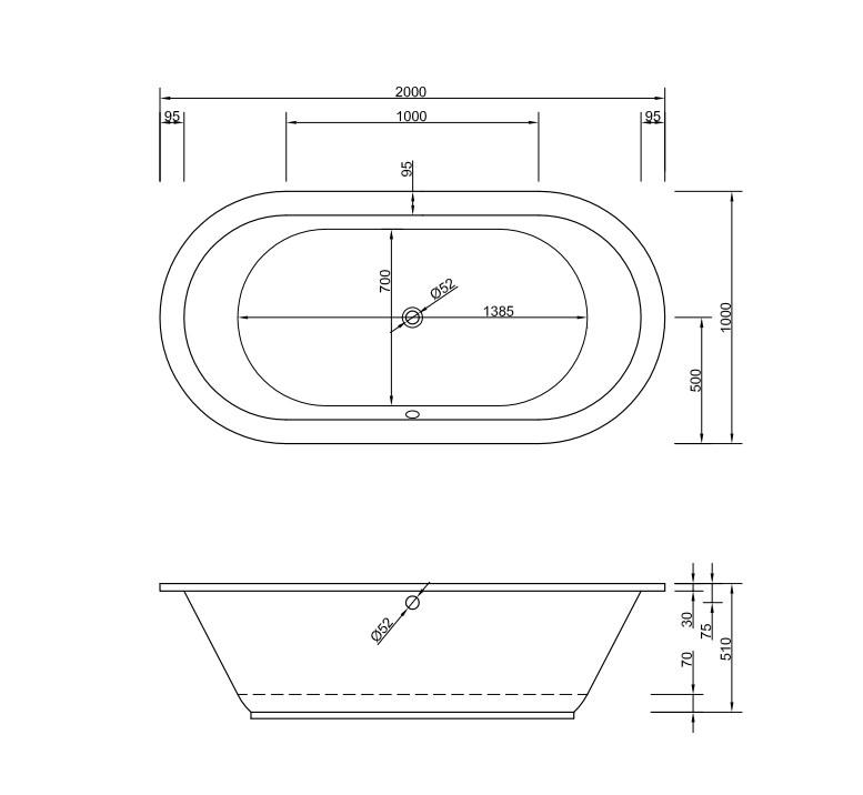 Chr. Schröder Oval-Badewanne Rhein Größe 200 x 100cm-2116