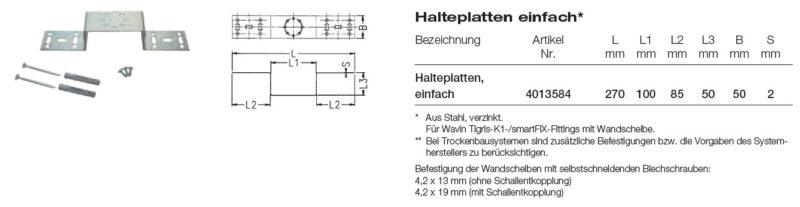 Wavin smartFIX Halteplatte einfach für Wandscheibenmontage-2540