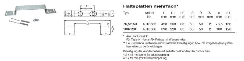 Wavin smartFIX Halteplatte mehrfach für Wandscheibenmontage-2541