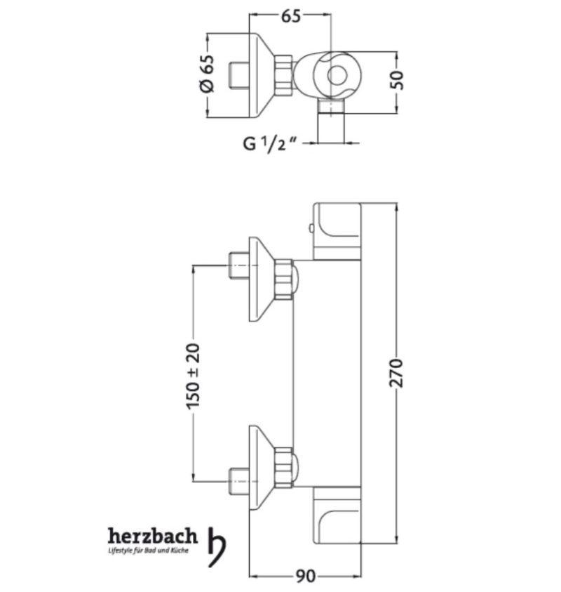 Brausethermostat Aufputz Herzbach Kappa Basic-2590