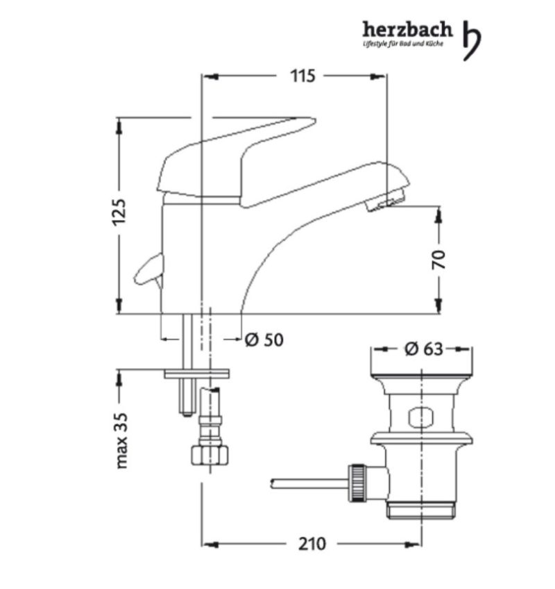 Einhand-Einloch Waschtischbatterie Herzbach Kappa Basic-2594
