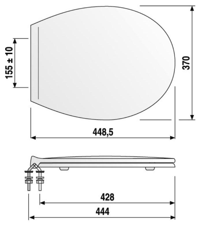WC-Sitz weiß aus Duroplast mit Edelstahlscharnier für genormte Wand- und Stand-WC-2638