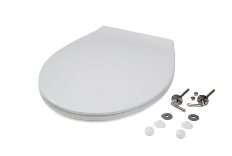 WC-Sitz weiß aus Duroplast mit Edelstahlscharnier für genormte Wand- und Stand-WC-0