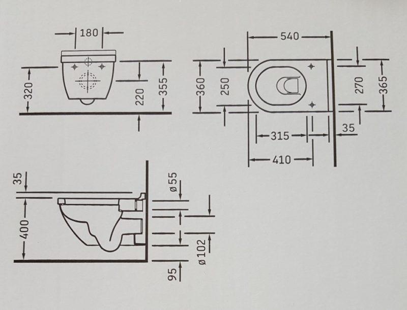 Abmessungen vom WC
