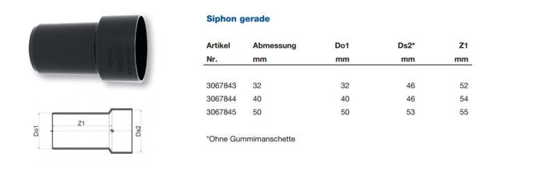 Maße Siphon gerade