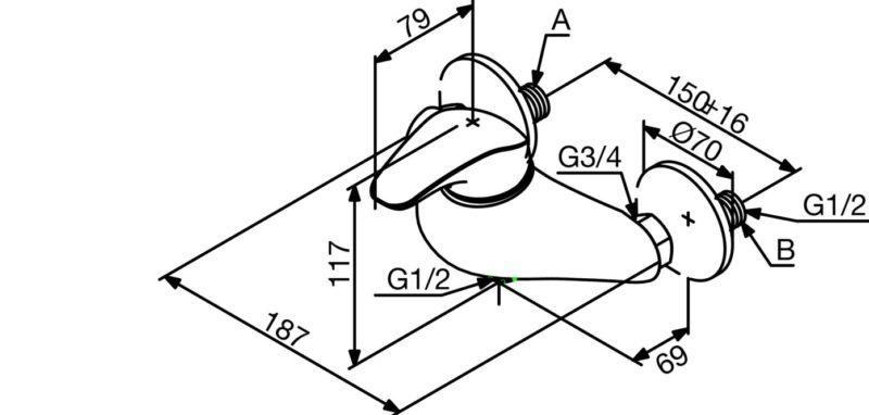 Einhand-AP-Brausearmatur damixa SPACE-2952