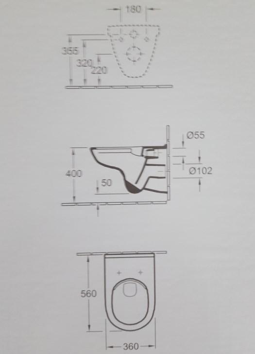 Villeroy & Boch Wand-WC O.NOVO COMBIPACK TARGA STYLE-2960